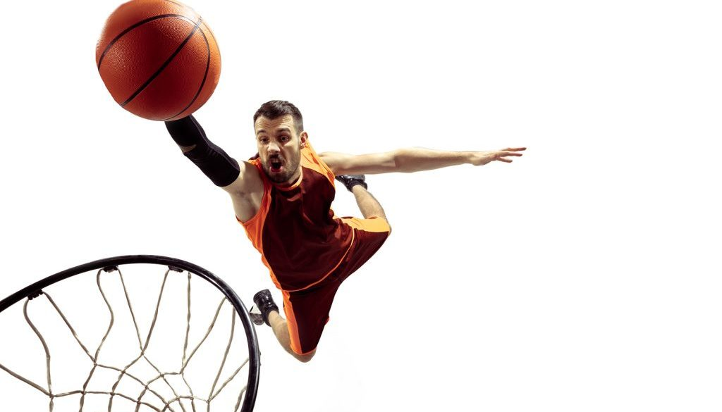 Full Length Portrait Of A Basketball Player With Ball Isolated O